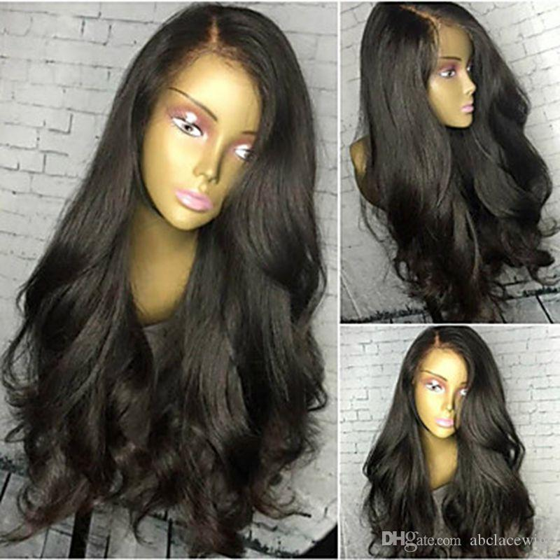 Top Quality 1b# Black Loose Wave Long Wavy Cheap Wigs High Quality Heat Resistant Glueless Synthetic Lace Front Wigs for Black Women