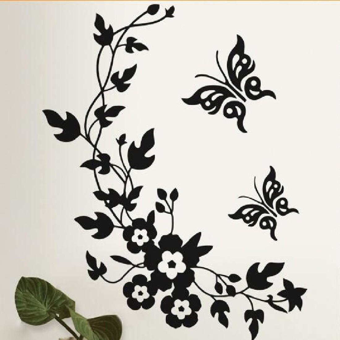 Hot Sale Removable DIY Mural Wallpaper Black Butterfly Flower Wall Stickers Decal Home Decoration New Fashion