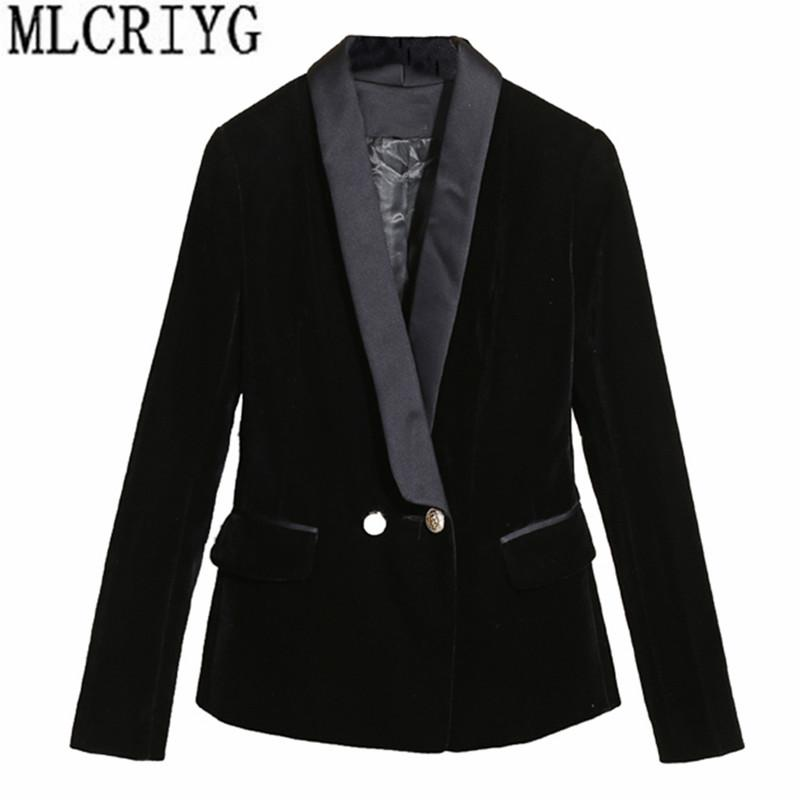 0d22c13dcc4b 2019 2018 EleAutumn Winter Velvet Blazer Women Slim Long Sleeve Ladies  Blazers Feminino OL Formal Work Small Suit Jacket YQ232 From Fabian05, ...