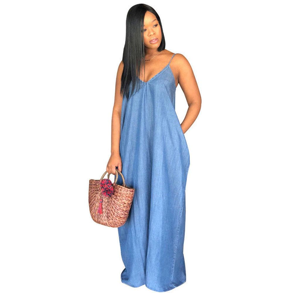 3231875bd61 Plus Size Women Dress Boho Backelss Long Denim Maxi Dress Women Loose  Sundress Sleveless Summer Dress Party Cocktail Dress White Dresses For  Teenagers From ...