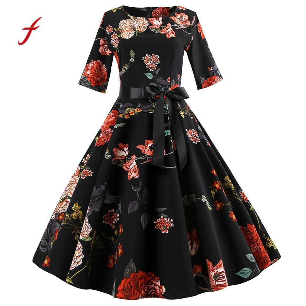 Acquista Feitong 2018 Autunno Abiti Eleganti Da Donna Vintage Mezza Manica  Floreale Stampa Abiti Da Sera Festa Danza Swing Dress Vestidos   PY A   38.87 Dal ... 57f97672661