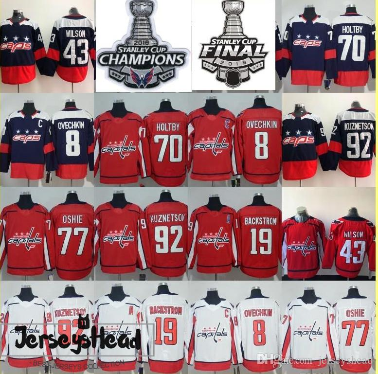 2019 Mens Hockey Jerseys 8 Alex Ovechkin 43 Tom Wilson 77 T.J. Oshie 19  Nicklas Backstrom 70 Braden Holtby 92 Kuznetsov Jersey From Jerseyshead 5f150ce259f69