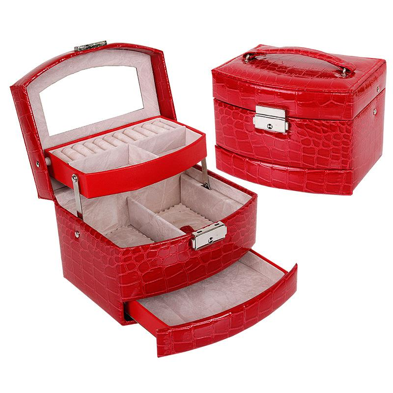 Hoomall 1PCJewelry Display Box 3 Layers High Grade Crocodile Print Ring Necklace Jewelry Case Lady Gift Home Storage Boxes Bins