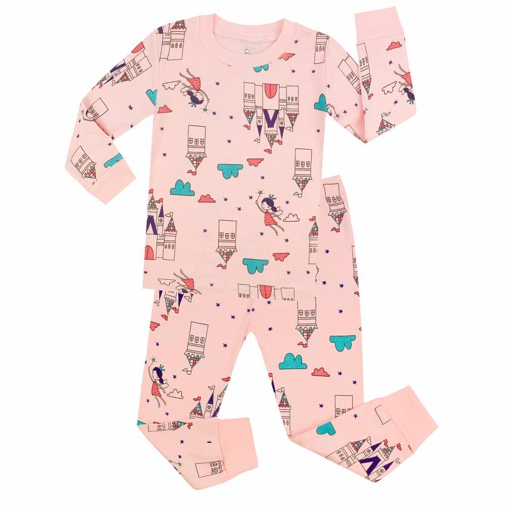 931aa711f5159 Girls Princess Printed Pajamas Sets Kids Aircraft Sleepwear Children Long  Sleeve Nightwear Baby Pyjamas Boys Pijama For 1-7 Year