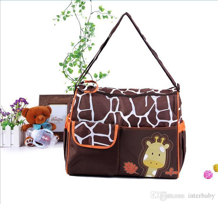 Múmia Sacos De Bebê Saco De Fraldas Zebra Girafa Fralda Sacos Babyboom Multifuncional Pacote À Prova D 'Água Moda Dos Desenhos Animados Bolsa De Ombro LD23