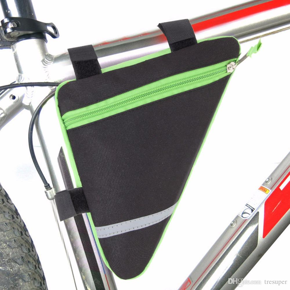 Mise à niveau 1.5L en plein air Vélo Vélo Triangle Avant Tube Cadre Sac avec Bande Réfléchissante Mountain Bike Pouch Holder Saddle Bag
