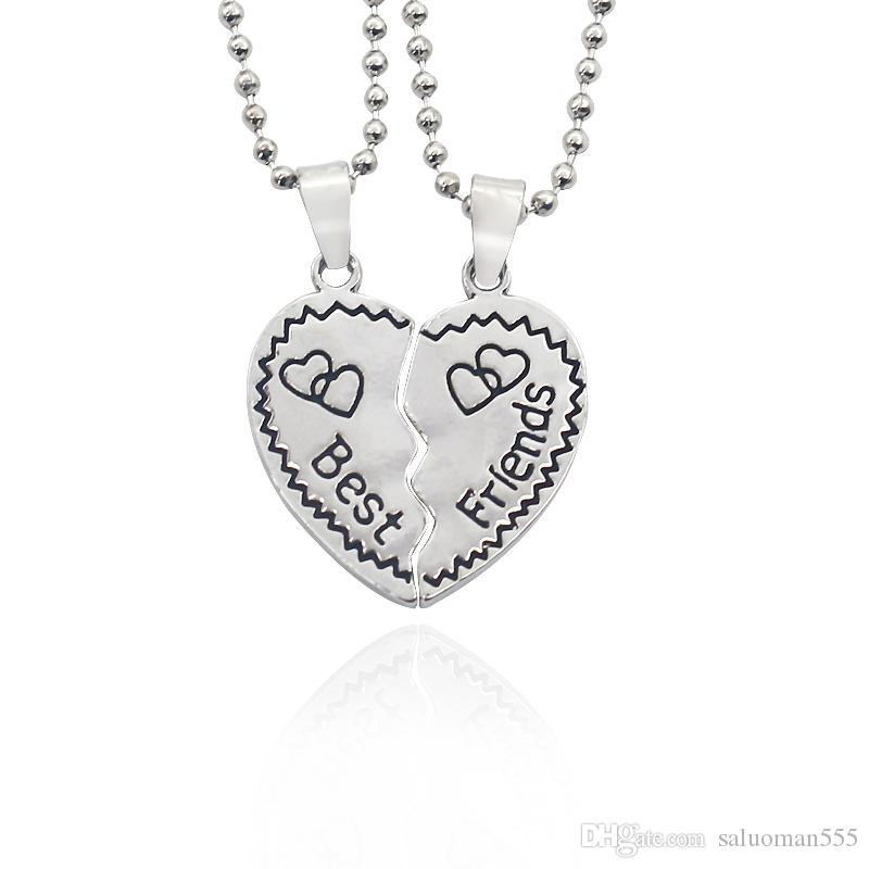 9a8ab23035 Best Friends Necklace Jewelry Broken Love Heart Pendant Necklaces ...