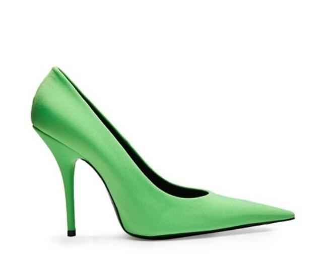 2018 Розовый насосы зеленый стрейч ткань высокие каблуки Женская обувь Ким Кардашян стиль тонкие каблуки обувь Сексуальная острым носом женщины насосы