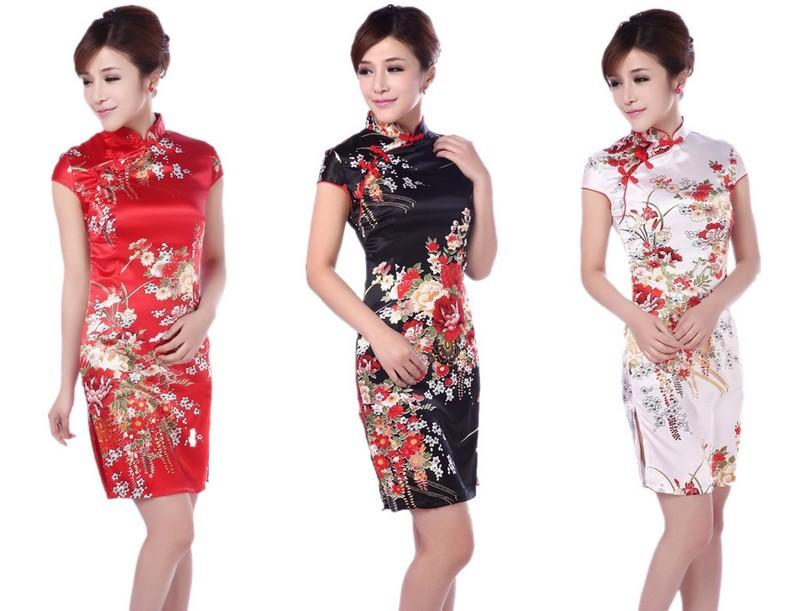 8b53350b84ef2 Free shipping Short sleeve plum print cheongsam dress qipao Sexy Chinese  Style dresses Silk Women traditional chinese dress 3 color