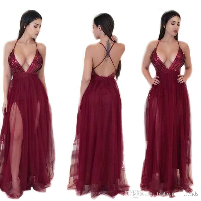 6a3aa4154b55 Sexy Elegant Party Maxi Dress Sling Evening Deep V Neck Backless Dress  Sequin Patchwork Strap Banquet Soiree Dresses Temperament Vestidos Cheap  Dresses ...