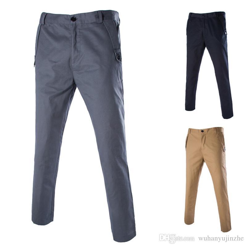 e3f51674784 Acheter Pantalon Décontracté Hommes Coton Slim Fit Chinos Pantalons De Mode  Mâle Marque Vêtements Plus La Taille 2018 Printemps Eté Nouveau Pantalon  DH173 ...