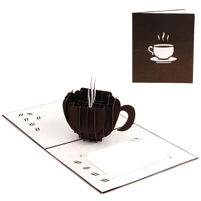 Coffee Christmas Cards.3d Pop Up Coffee Greeting Cards Christmas Birthday Valentine Invitation G12 Drop Ship