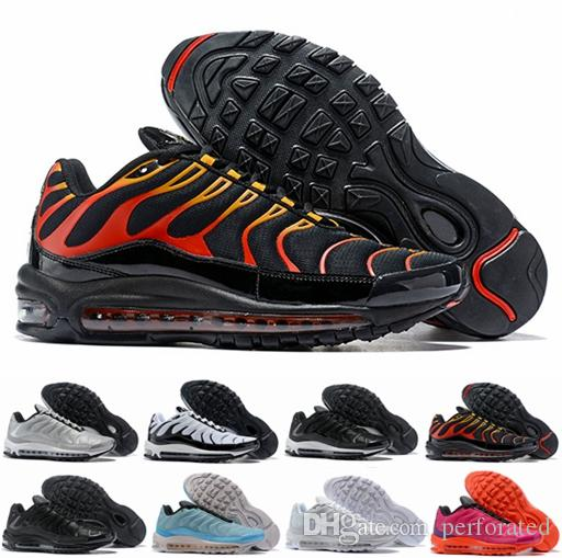 buy online a2619 c72f5 2018 New 97 Plus Tn Tuned 1 Hybird Mens Women Running Shoes 97s Tns Fashion  White Balck Shock Sliver Trainers Sports Air Sneakers
