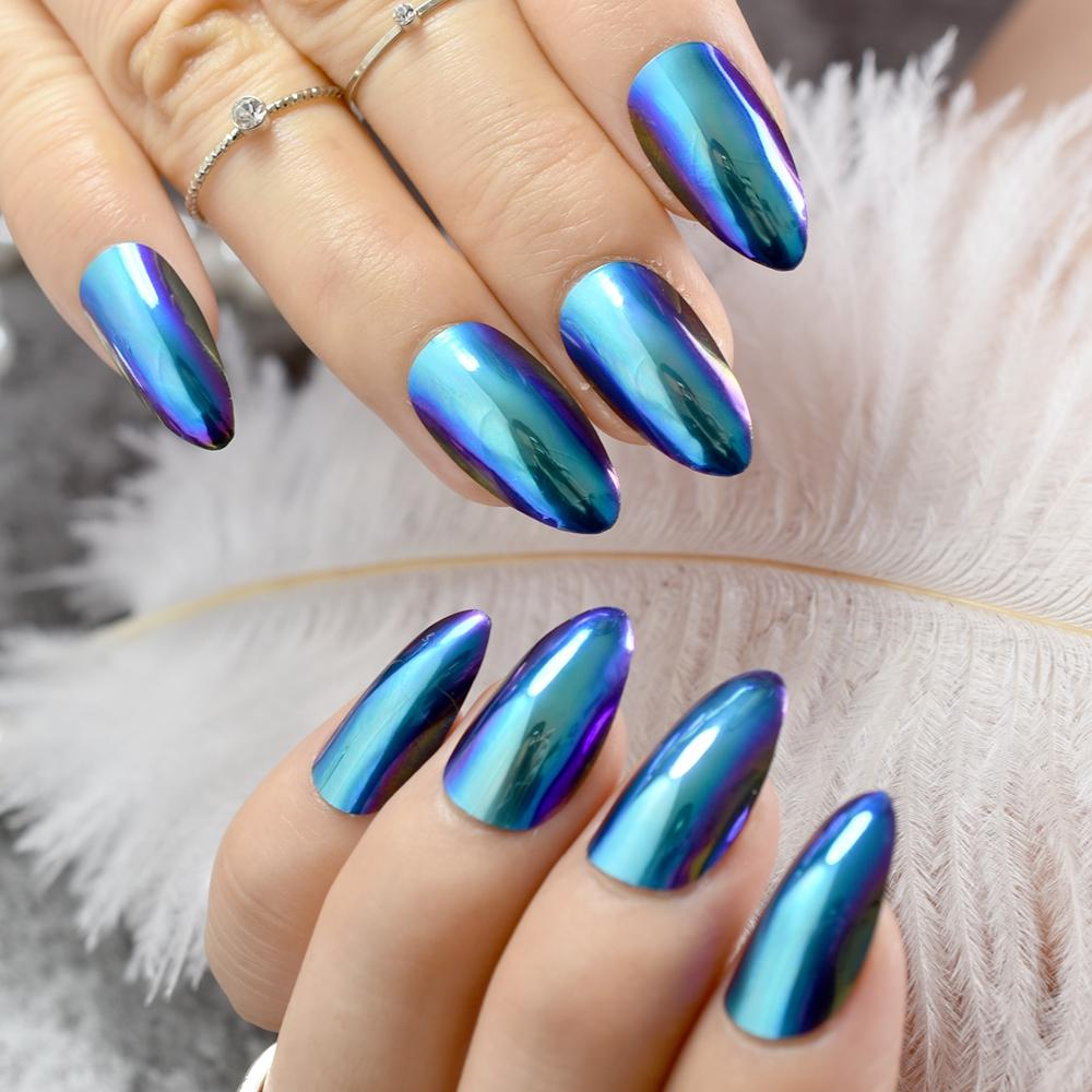 Chameleon Mirror Acrylic False Nail Fashion Fake Nails Purple Blue