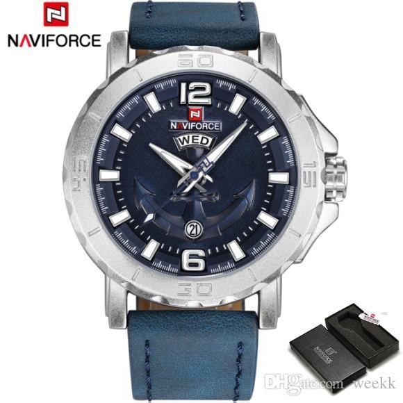 1e847e9e0717 Compre Naviforce Moda De Alta Calidad De Los Hombres Relojes Marca De Lujo  Casual Analógico Deporte Militar Reloj De Cuarzo De Cuero Impermeable Reloj  ...