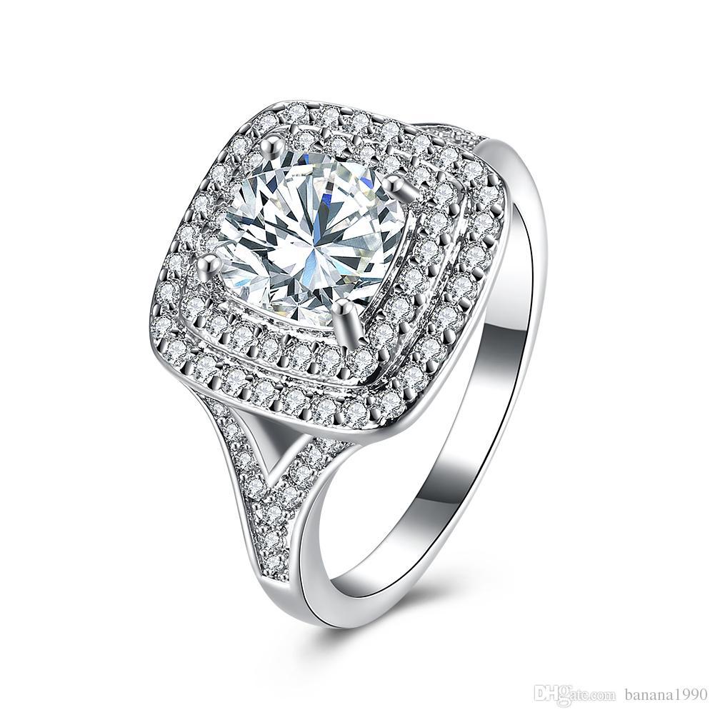 2018 Classic Fashion Diamond Zircon Wedding Engagement Rings Bridal