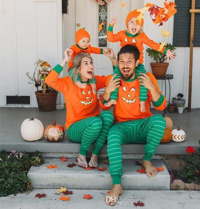 Mom And Baby Boy Matching Halloween Costumes.Newest Halloween Costumes Family Matching Pajamas Autumn Family Clothes Set Halloween Pumpkin Stripe Outfits Family Look Kids Baby Clothes