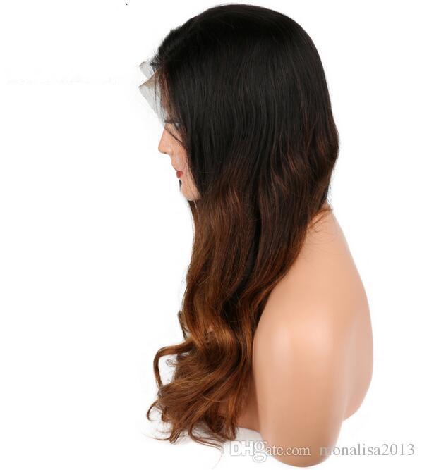 Волна Тела Ombre Полные Парики Человеческих Волос Шнурка С Волосами Младенца Бразильские Non Волосы Remy Для Женщин Pre Общипанный Вся Связанная Рука