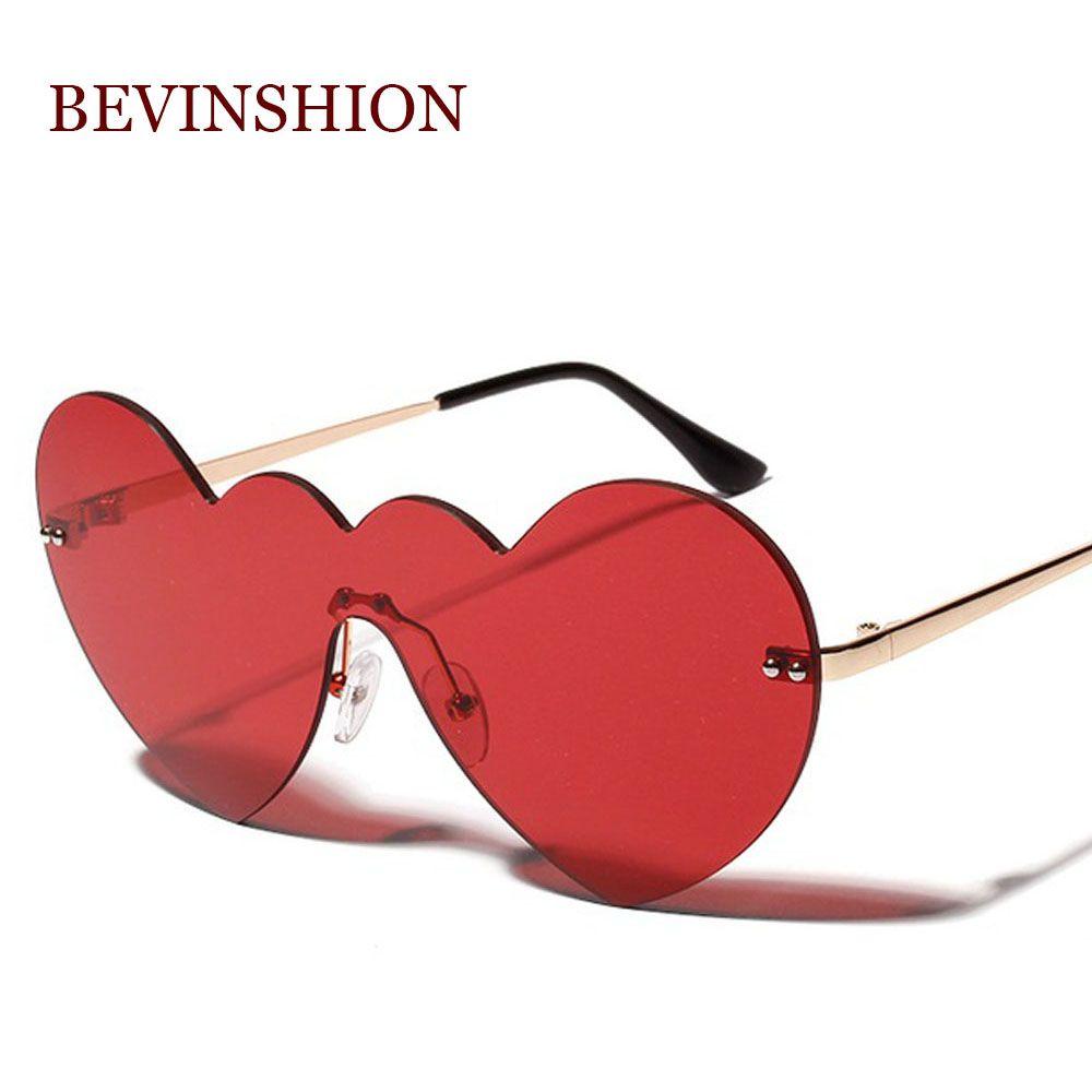 Compre Sexy Vintage Coração Vermelho Óculos De Sol Das Mulheres Moda Na Moda  Marca Designer Forma De Amor Sem Aro One Piece Onda Quadro Óculos De Festa  De ... 6499b1f8bd