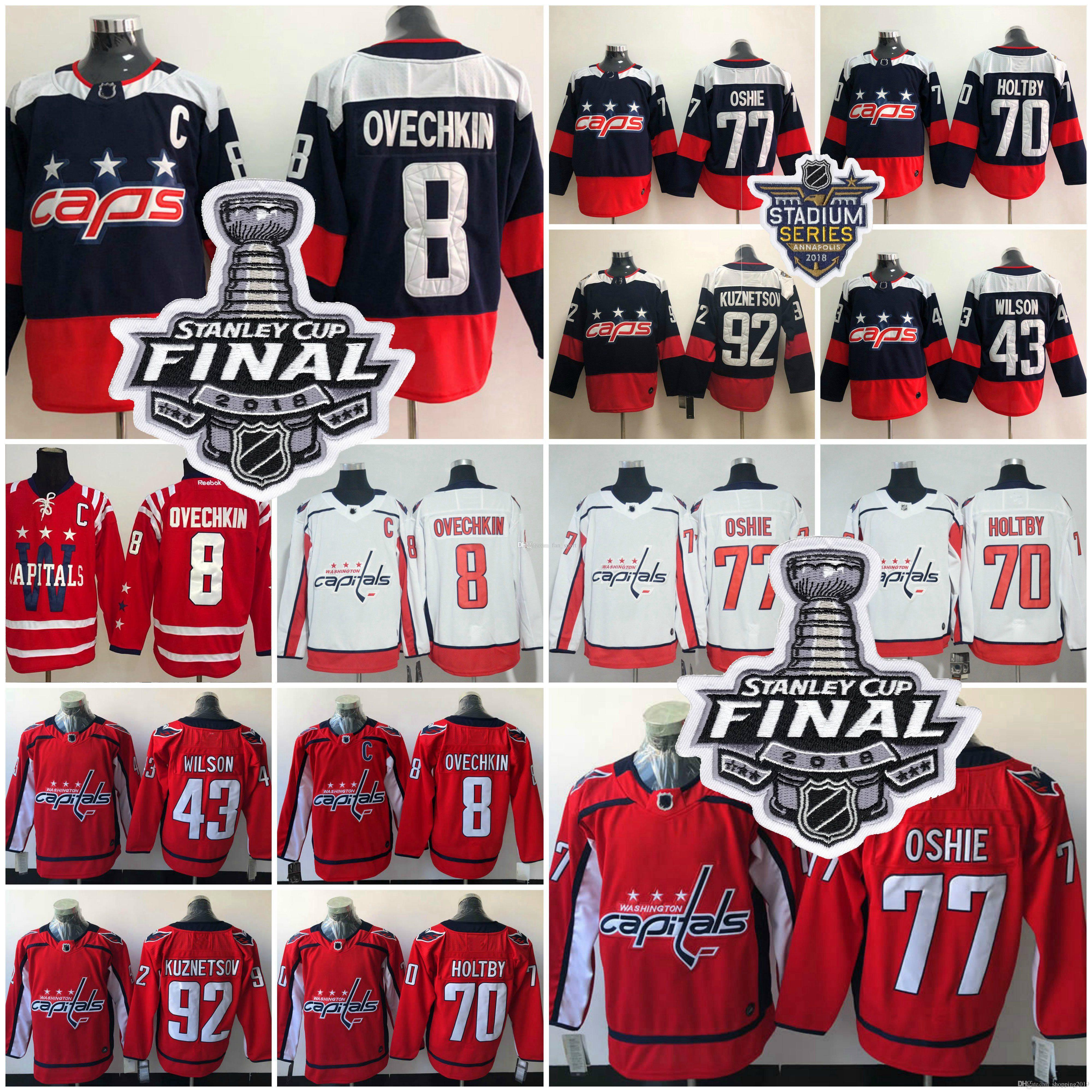 online retailer e25aa 72fad DHL 2018 Stanley Cup Washington Capitals 77 TJ Oshie Alex Ovechkin Evgeny  Kuznetsov Braden Holtby Backstrom Tom Wilson Jersey