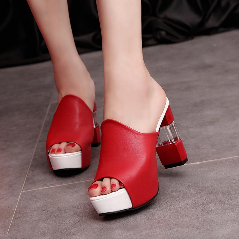 c4c06cb29 Compre Senhoras Sexy Chinelo Verão Slides Sapatos De Salto Alto Sapatos De  Festa De Alta Plataforma Frete Grátis Mulheres Chinelo Preto Vermelho Branco  ...