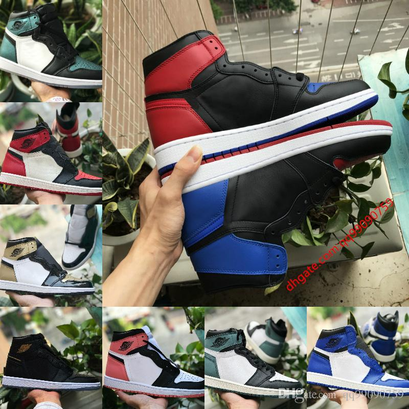 factory price 9251d 6519d Acheter Nike Air Jordan 1 Air Max Michael Jordan Retro 2018 Nouveau 1 Top 3  Banned Bred Toe Chicago OG Jeu Royal Blue Hommes Chaussures De Basket 1s ...