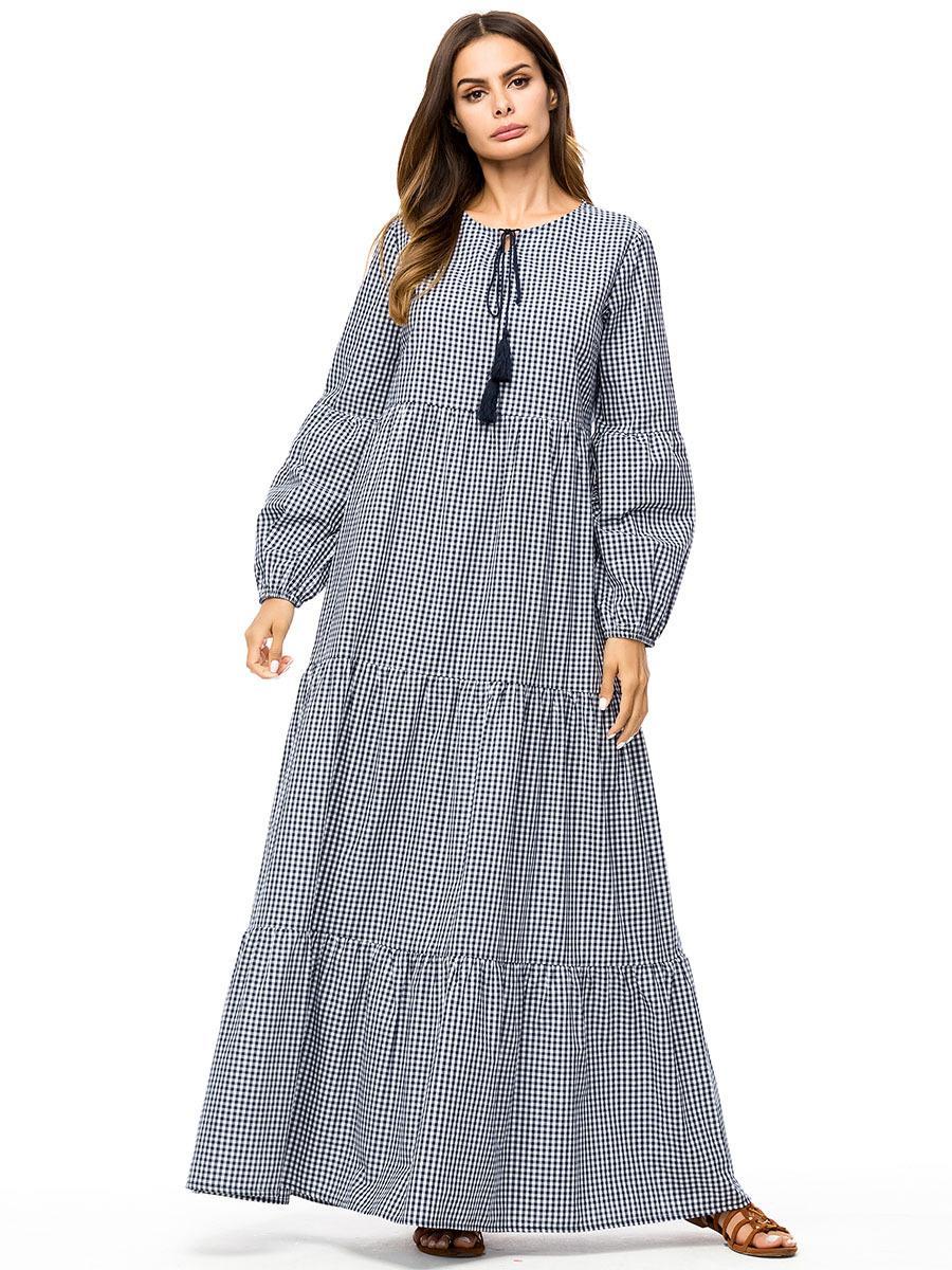 c86956723a 2019 187198 Baju Muslim Kaftans New Large Pendulum Lattice Mosaic Lanterns  Sleeves Loose Large Size Women'S Dress Vestido De Mujer Musulmana From  Insino, ...