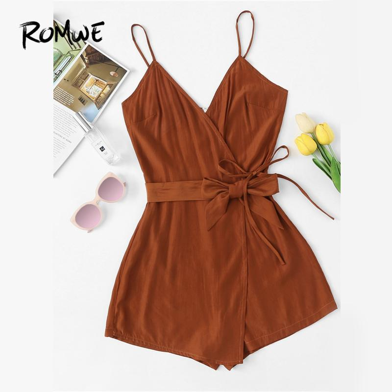 41aad68019 2019 ROMWE Tie Waist Cami Belted Wrap Knot Brown Romper Female Summer  Sleeveless Spaghetti Strap Mid Waist Casual Plain Playsuit From Beke