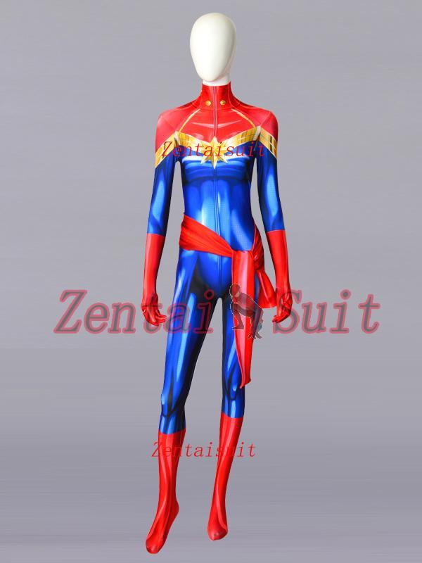 Marvel Carol Danvers Disfraz Spandex Lycra Sin Máscara Cosplay Halloween  Zentai Body Para Dama   Niña   Hembra A  60.32 Del Yaojingwan  fa5c3ddf36d