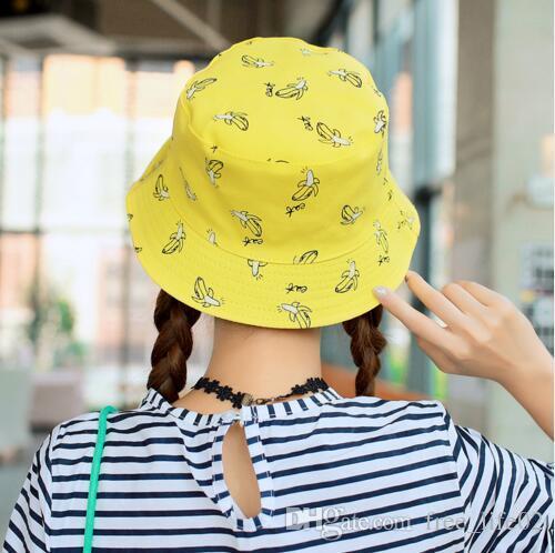 11eaa1a93ed 2019 Wholesale Bucket Cap Man Women Unisex Cotton Banana Hat Bob Caps Hip  Hop Cool Outdoor Sports Summer Ladies Beach Sun Fishing Bucket Hats From ...