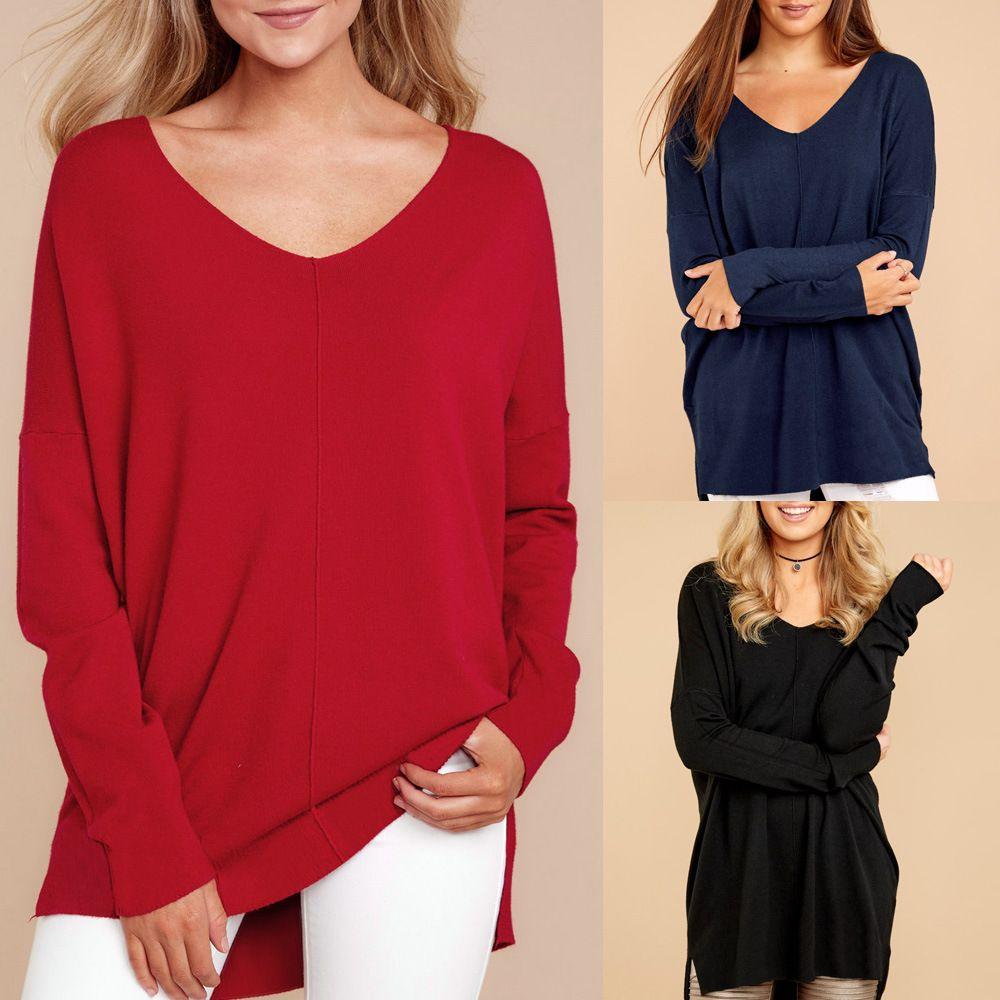 0c95db770dd Women Long Sleeve Shirt Sexy V-neck Loose Slit Hem Long-sleeved Tops ...