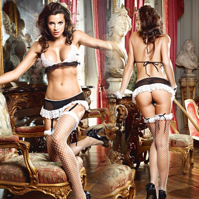 Sexy Lingerie Set With Hand Decorations Bra Panties Garters Female Balck White Lace Nylon Sex Clothes Lovely Girl Lingerie Sets