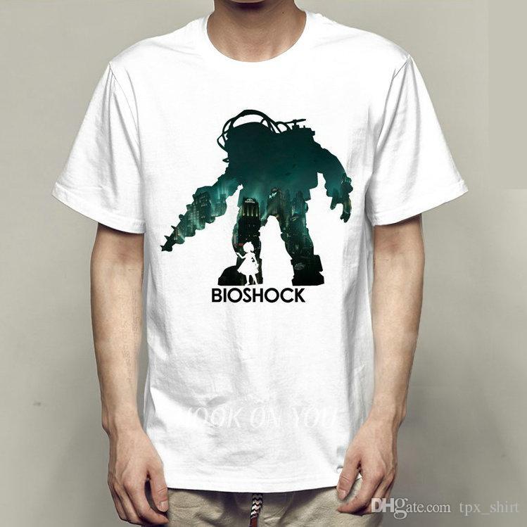 bioshock t shirt jack short sleeve gown film game tees casual