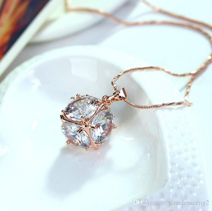 Elegant western style necklace fashion necklace with crystal pendant collarbone chain birthday nice gift free ship