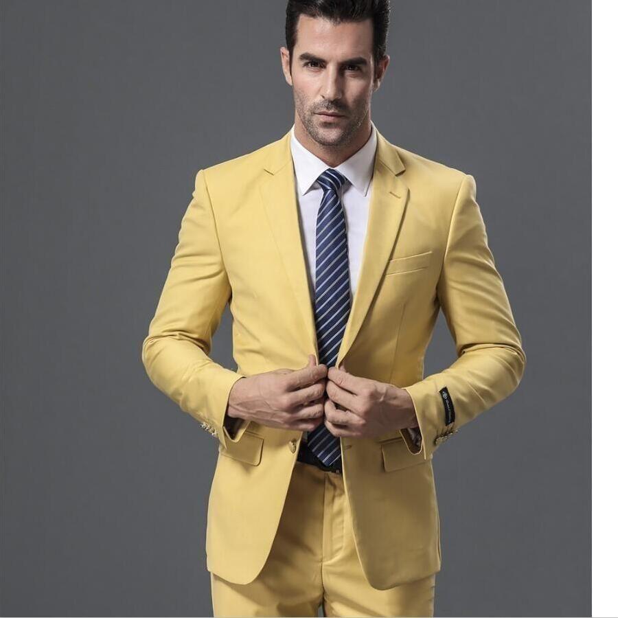 557748e8f New Yellow Groom Suit Men Wedding Tuxdos Custom Made Groomsmen Tuxedos  Notch Lapel Men Prom Party Suits (Jacket+Pant)