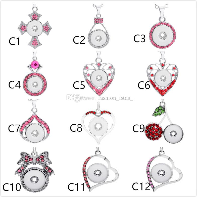 36 plenty Pink of Styles Noosa Chunk Assorted Snap Buttons Pendant Necklaces Stainless Steel Chain Jewelry necklace