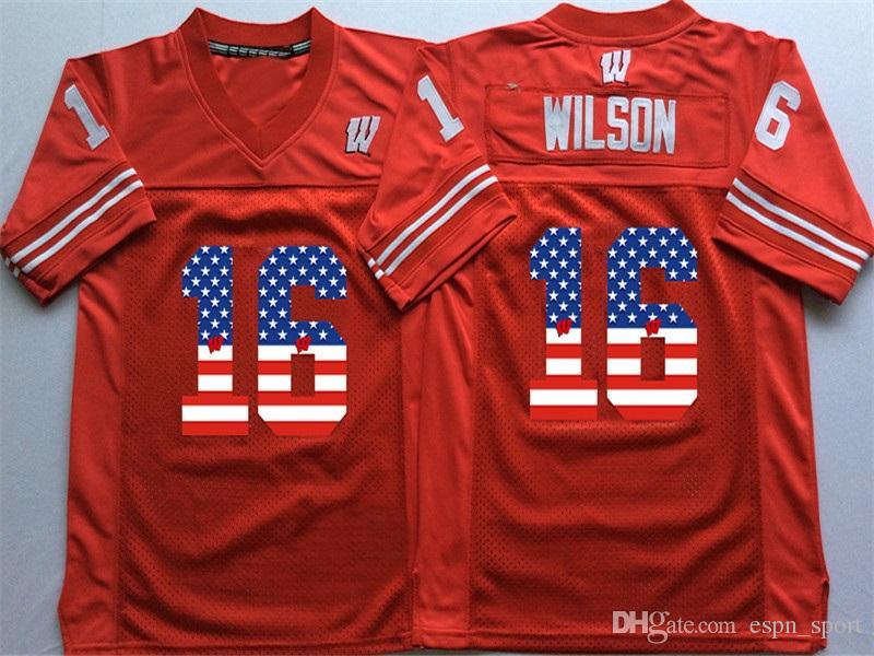 official photos d8f50 432ba Factory Outlet- NCAA Wisconsin Badgers 16 Russell Wilson 25 Melvin Gordon  III 99 J.J. Watt College Football Jersey S-3XL,Mix Order jerseys