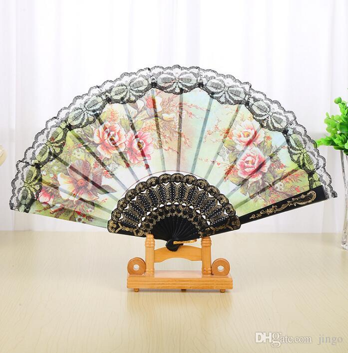 Spanish Floral Folding Hand Fan Flowers Pattern Lace Handheld Fans Wedding Dancing Church Party Gifts Party Favor nt