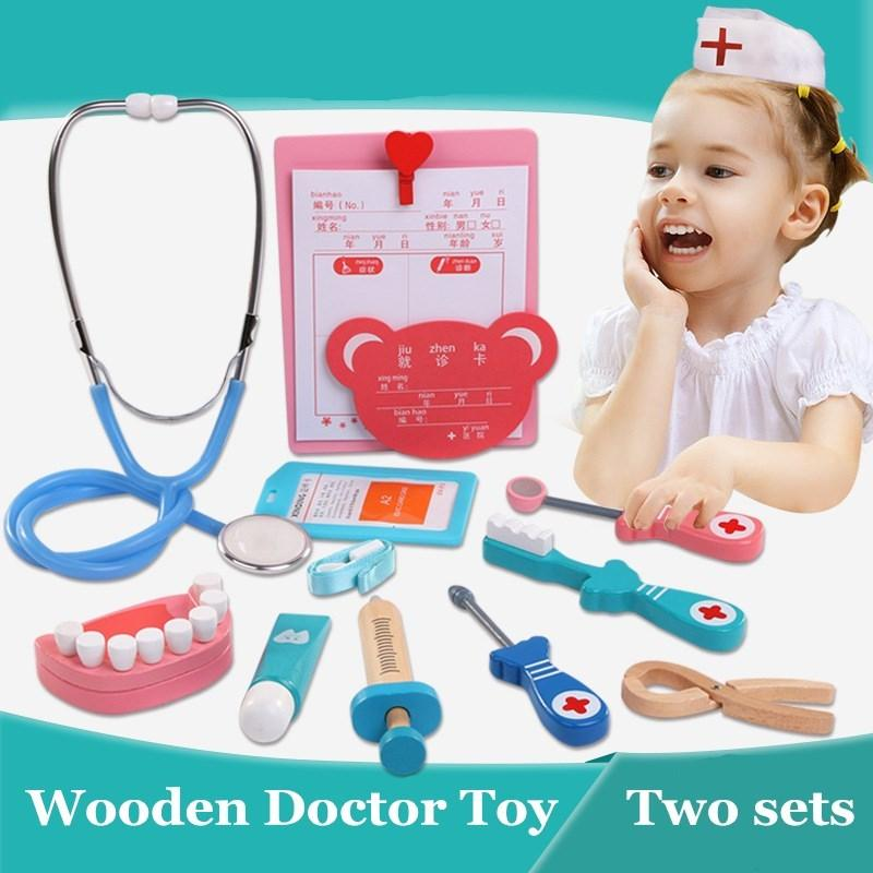 cf6687b76622 Baby Pretend Play Toys Wooden Children Kids Doctor Kit Fun Stethoscope Toy  Set Educational Game Toy