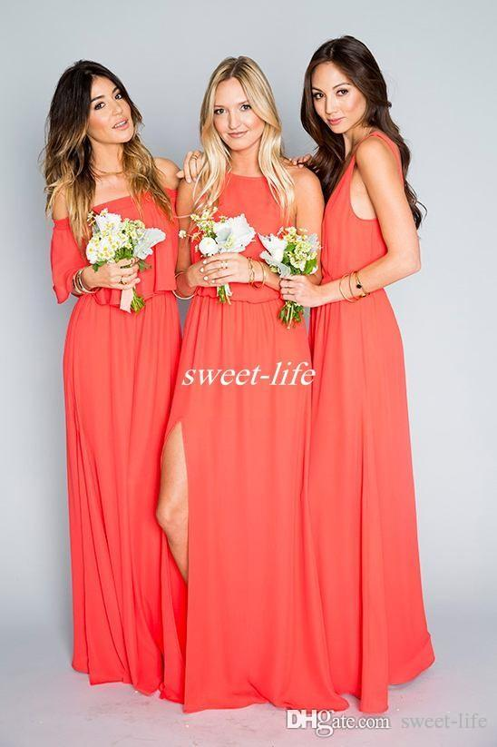 Cheap Beach Wedding Bridesmaid Dresses Coral Orange Chiffon Floor Length 2018 Mixed Style Slit Boho Maid of Honor Dress Plus Size Party Gown