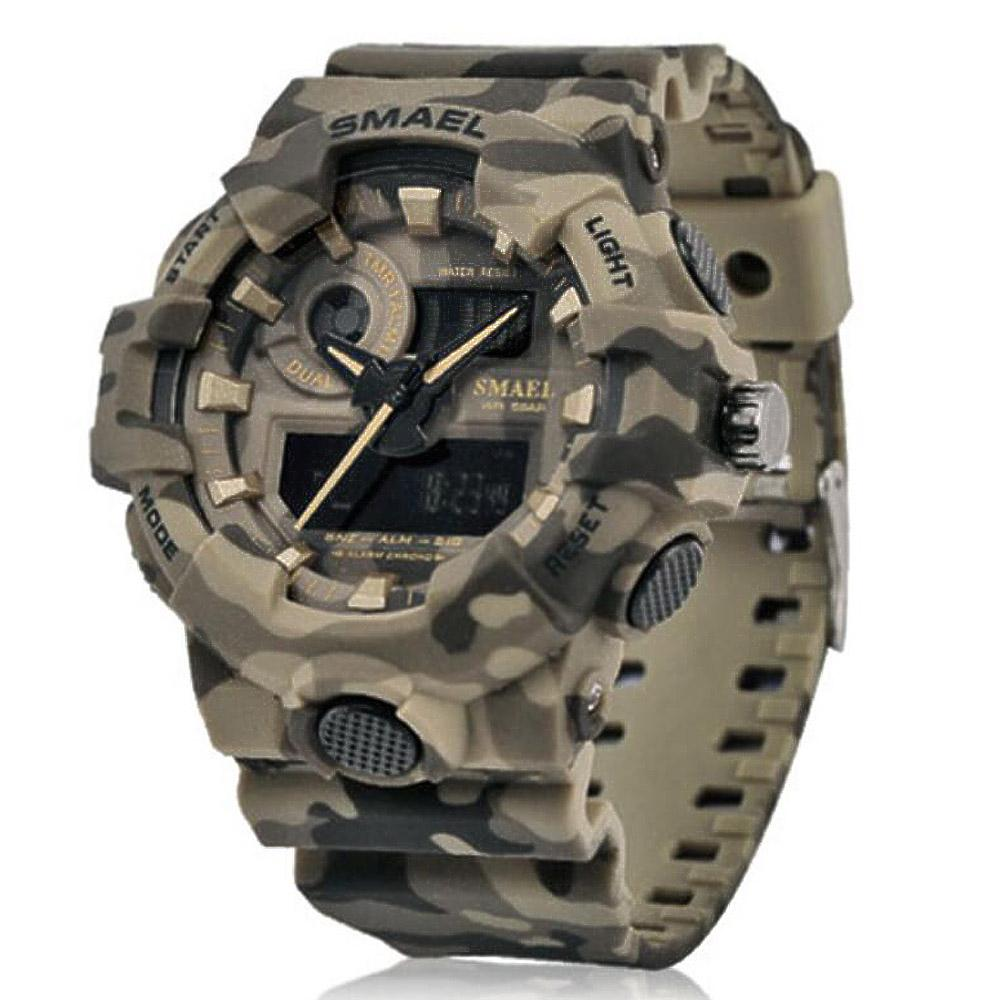 New Camouflage  Watch SMAEL Watch Men Sports LED Quartz Clock Men Sport Wristwatch 8001 Mens Army Waterproof