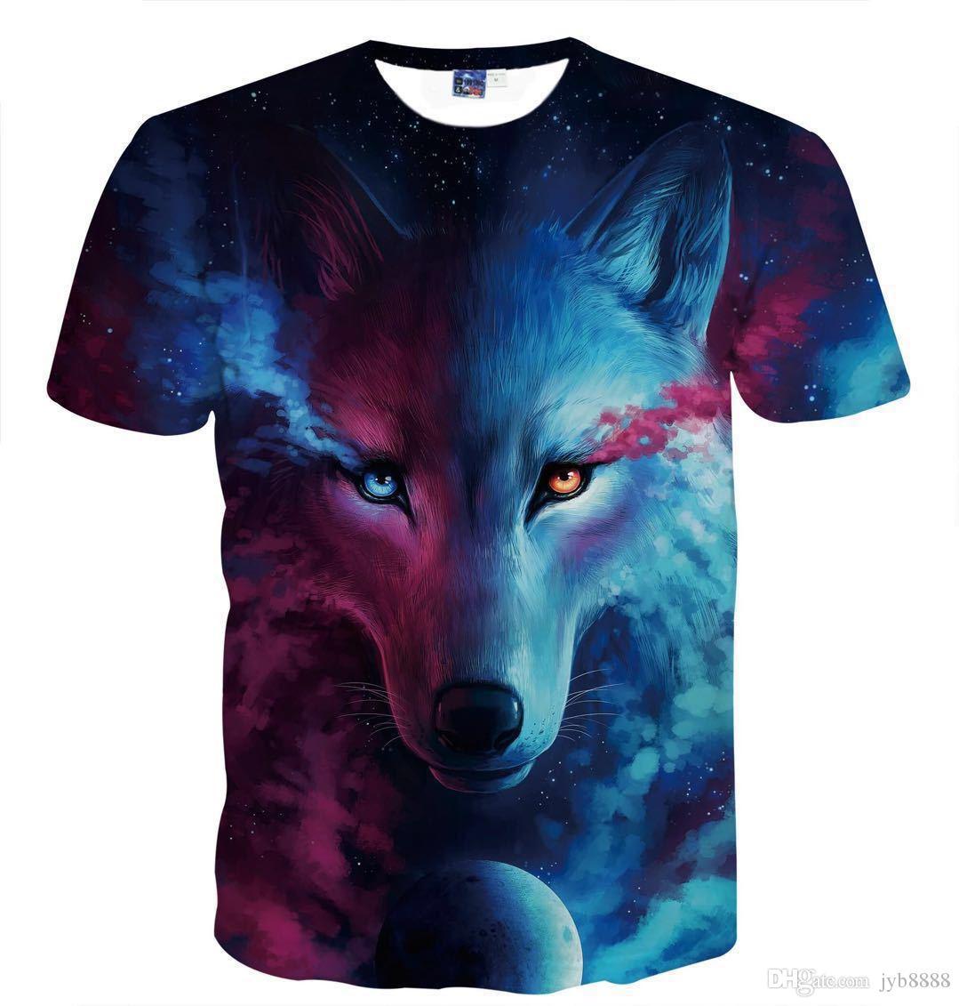 Compras gratis 2018 nuevas camisetas y mangas cortas con estampado digital con patrón de lobo de sangre para hombres y mujeres en Europa y América
