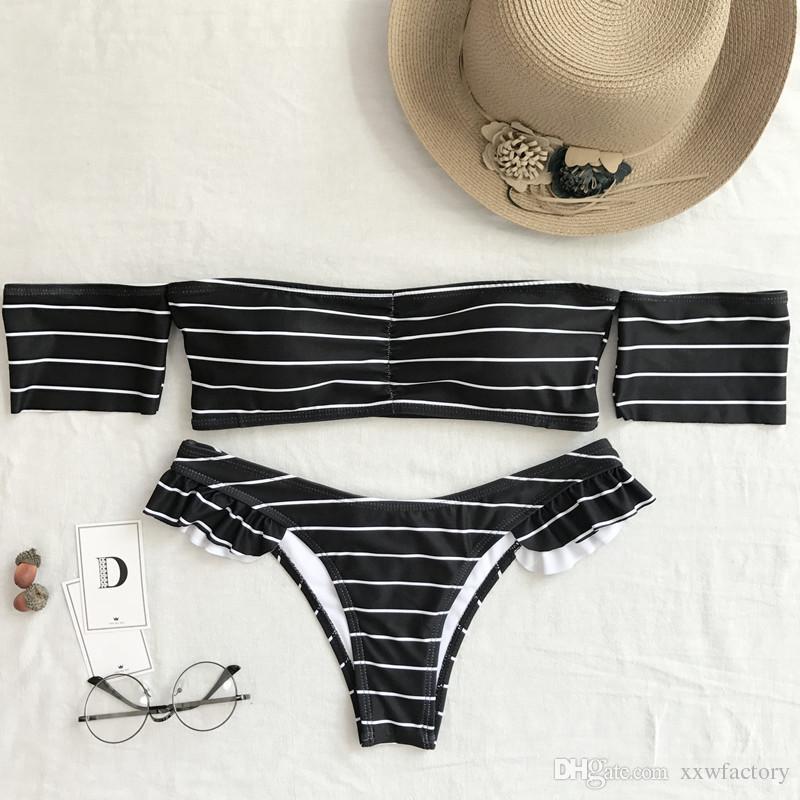 Black+white stripe Women Print Floral Bikini Swimwear Swimsuit Push Up Bikini Set Swimsuit separate bikini push up biquines-para-mulheres
