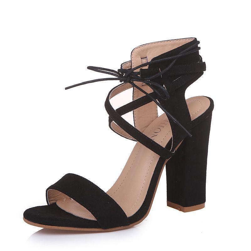 2018 novo estilo europeu e americano de verão feminino camurça sólida sandálias de cinta de salto alto grosso 6 cores sapatos casuais