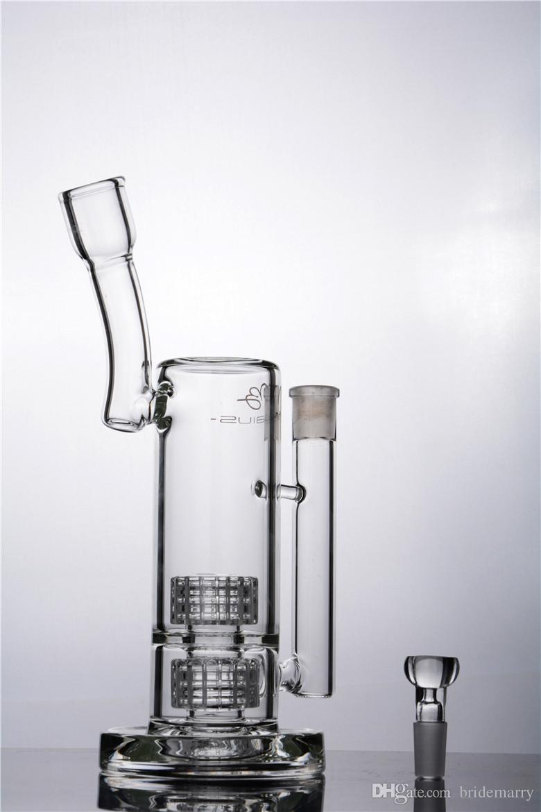 New Arrival Hookah Thickness Base Bent Tube Glass Bongs Double Type Inline Water Pipe 18mm Joint Vapor Hookah