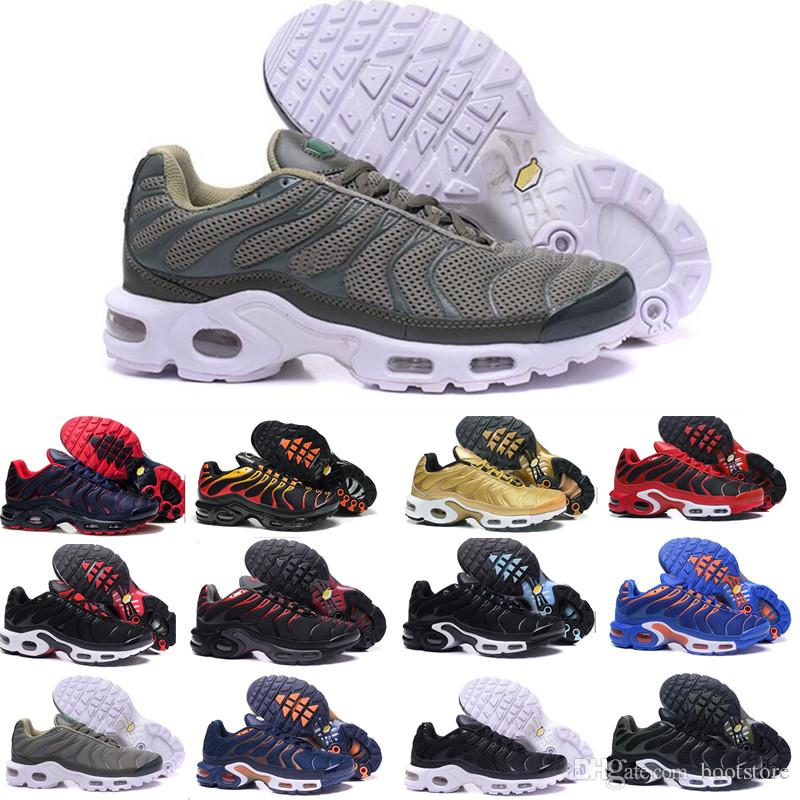 super popular 9e7f1 b876f Compre Nike Tn Plus Vapormax Air Max New Tn Plus Zapatos Casuales 2018  Hombres Casuales Triple Negro Oliva Metalizado Blanco Plateado Deportivo  Zapatillas ...