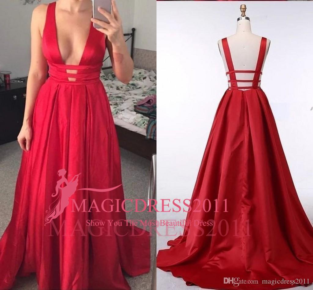 3a0913480f 2018 Sexy Deep V-neck Prom Formal Dresses Red Satin A-line Designer Back  Style A-line Evening Gowns Party Dress Runway Fashion Custom Made 2018 Prom  Dresses ...