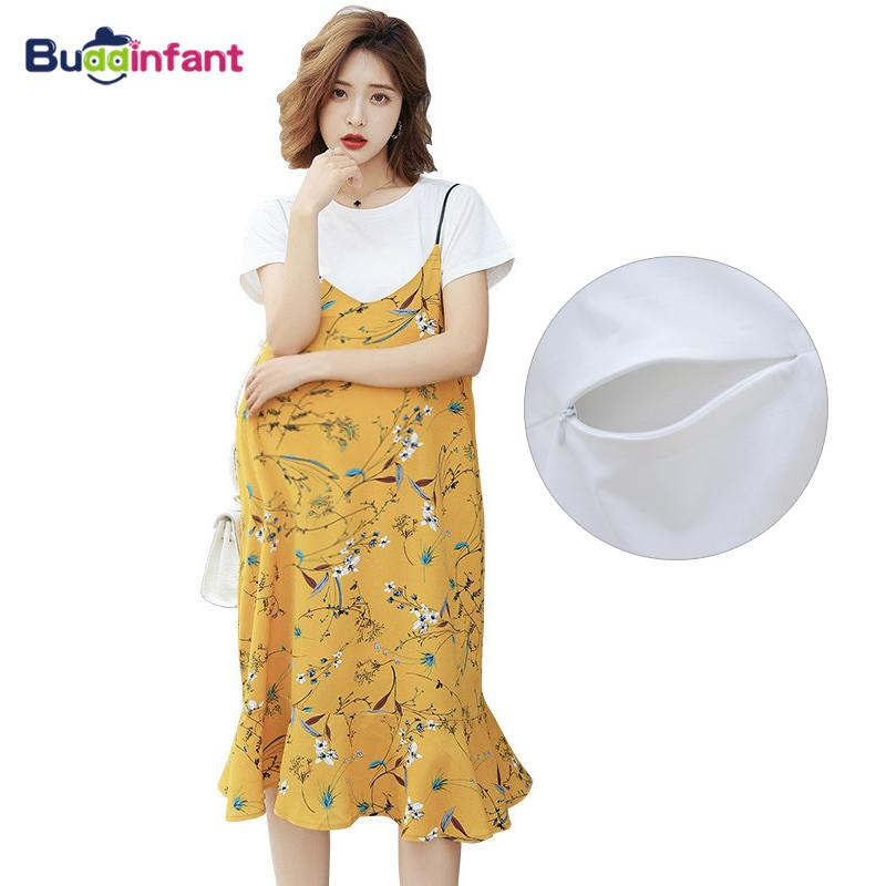 dcd8f4e9f29a1 2019 EleMaternity Clothes For Pregnant Women Breastfeeding Tops + Bohemia  Sling Beach Dress Pregnancy Clothing Summer From Ferdimand, $33.53 |  DHgate.Com