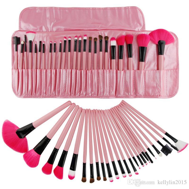 나무 손잡이 메이크업 브러쉬 24 개 PCS 핑크 블랙 파운데이션 페이스 파우더 홍당무 얼굴 화장품 케이스가있는 브러쉬 메이크업