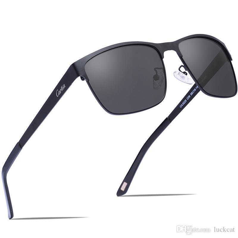 Compre Carfia Gafas De Sol Polarizadas Para Hombres Con Lentes De Sol 58mm  100% UV400 Protección Cuadrado De Marco De Metal 5225 Con Estuche A  21.83  Del ... 256b25cba0c9